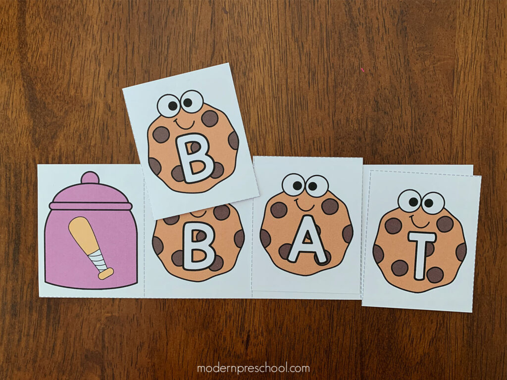 FREE printable CVC cookie words literacy activity for pre-k & kindergarten classes to work with while practicing letter sounds and early reading skills!