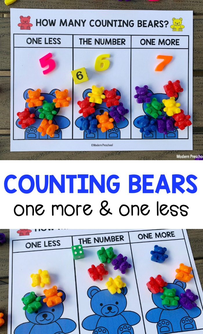 FREE printable counting bears one more one less number mats for preschoolers to practice number sense, fine motor, and counting skills!
