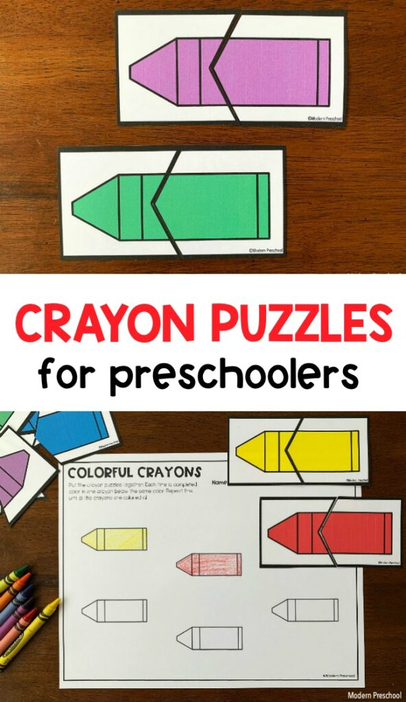 FREE printable crayon color puzzles and recording sheet to practice color recognition and matching in preschool with this math center.