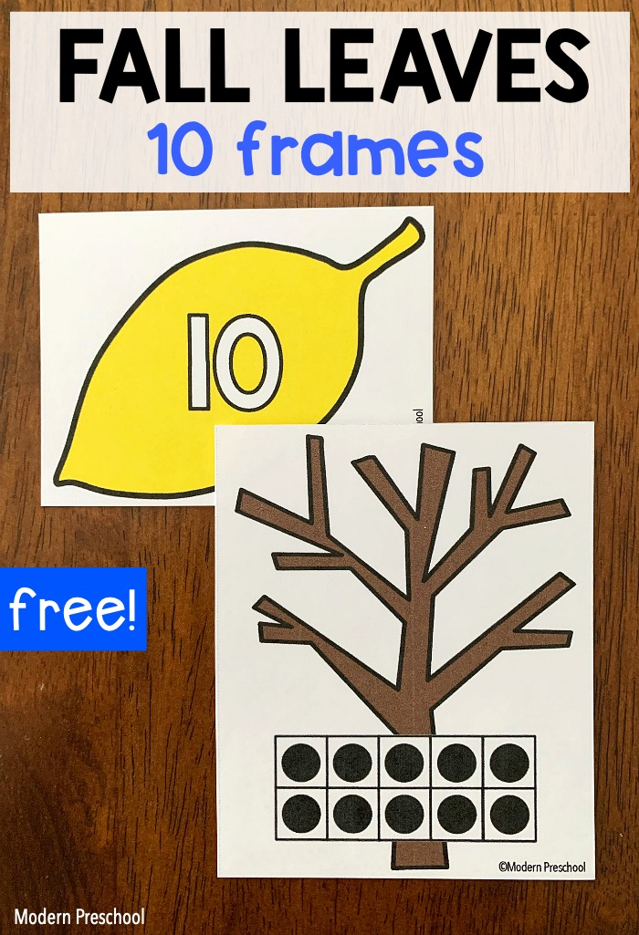 FREE printable fall leaves 10 frames math center activity to use with preschoolers and kinders in the autumn when learning numbers and counting!