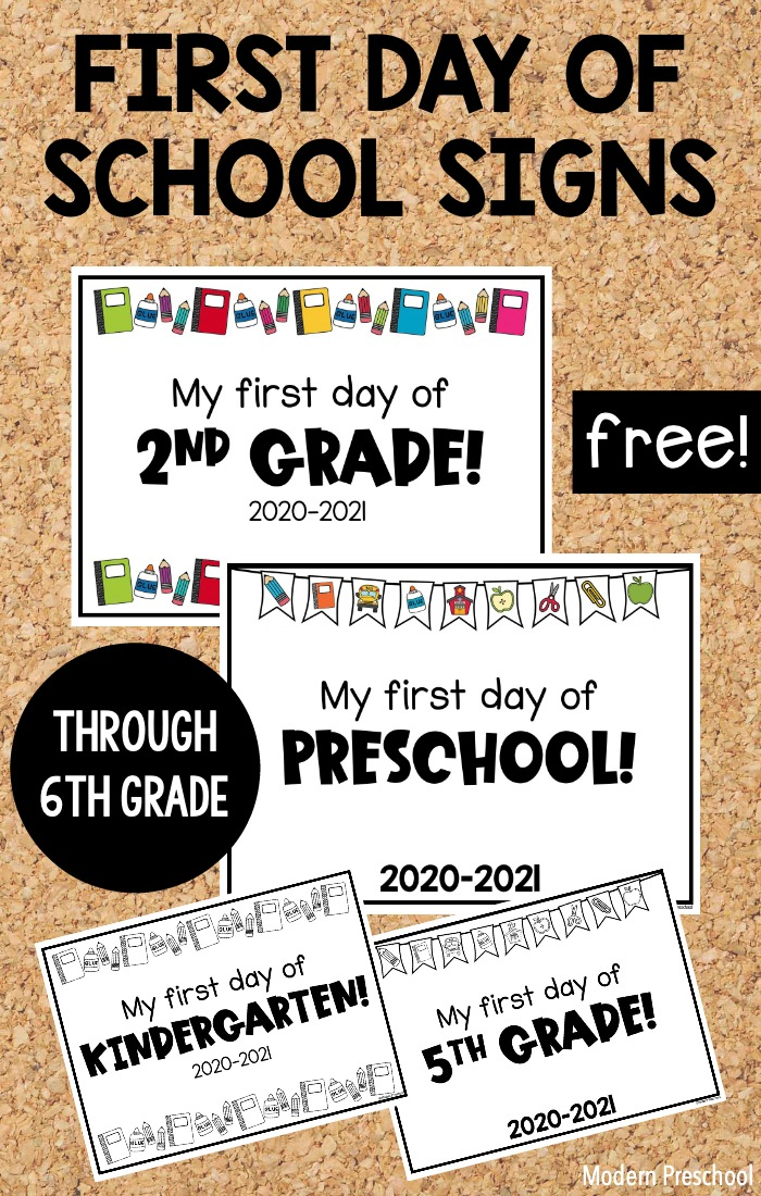 FREE printable first day of school signs to use at home or in the classroom to celebrate the new 2020-2021 school year from preschool - 6th grade!