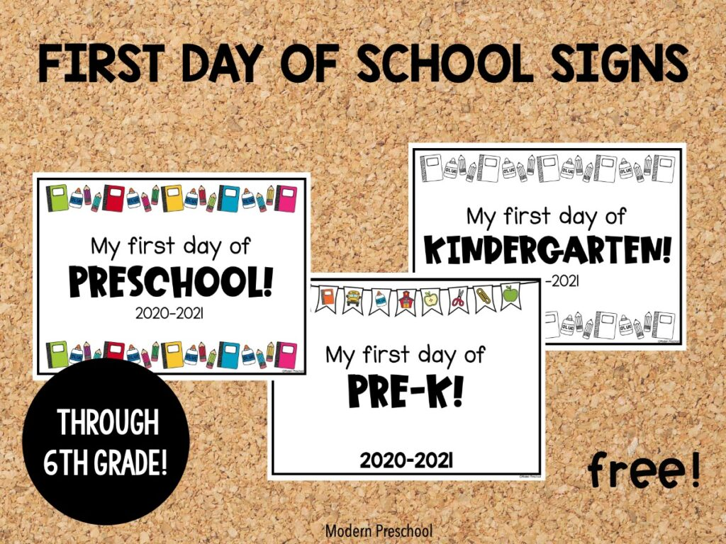 FREE printable first day of school signs to use at home or in the classroom to celebrate the new 2020-2021 school year from preschool - 6th grade!FREE printable first day of school signs to use at home or in the classroom to celebrate the new 2020-2021 school year from preschool - 6th grade!