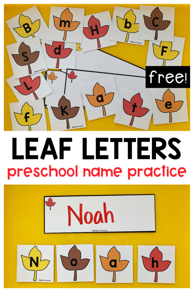 FREE printable fall leaf letter cards preschool activity to practice uppercase & lowercase letter identification and building names!