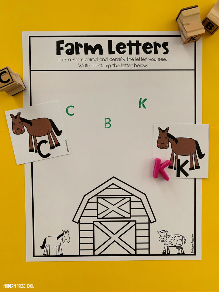 FREE printable farm alphabet match sensory bin activity for preschoolers to practice uppercase and lowercase letter identification and writing!