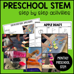 Age appropriate play based preschool STEM activities that include step by step directions, teachers and parent tips, and a photo example!
