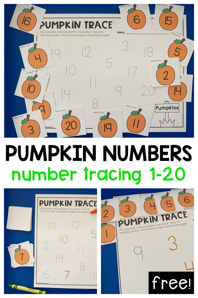 FREE printable pumpkin number trace math center for preschoolers to practice numbers and counting 1-10 and 1-20 during the fall!